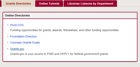 Image highlighting the grants directories page of the grant guide