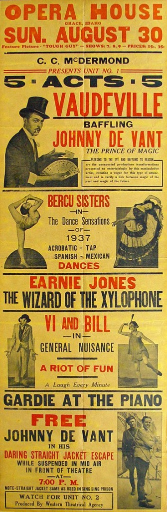 1937 Vaudeville poster with Harryette on the left and Dorothy Bercu on the right