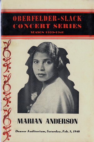 Marian Anderson 1940 program cover.