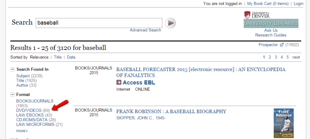 catalog search baseball narrow to dvds
