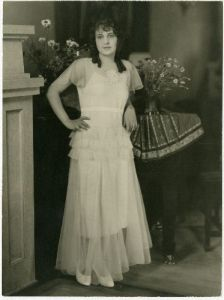 Peryle Beck in gown on her 16th birthday.