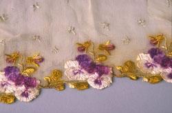 Handkerchief emboridered by Anna Ginsberg Hayutin.