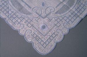 Blue and white wedding handkerchief of Peryle Hayutin Beck.