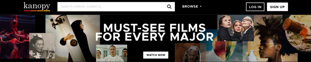 "Screen capture of featured content on Kanopy home page. Reads, ""Must-See Films for Every Major"" accompanying film cover images."