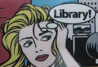 "Boise Public Library, ""Paige Turner"" card image. Inspired by pop artist Roy Lichtenstein, the image depicts a woman and thought bubble reading, ""Library!"""