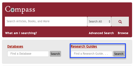 (Screen shot) DU Library homepage. Cropped and indicated by blue square is the 'Research Guides' search box.